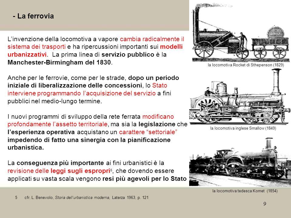 9 - La ferrovia Linvenzione della locomotiva a vapore cambia radicalmente il sistema dei trasporti e ha ripercussioni importanti sui modelli urbanizza