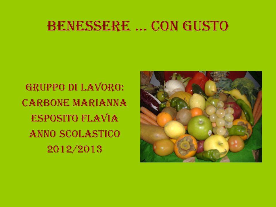 BENESSERE … CON GUSTO GRUPPO DI LAVORO: CARBONE MARIANNA ESPOSITO FLAVIA Anno scolastico 2012/2013