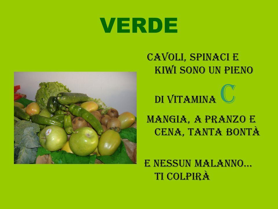 VERDE Cavoli, spinaci e kiwi sono un pieno di vitamina c Mangia, a pranzo e cena, tanta bontà e nessun malanno… ti colpirà