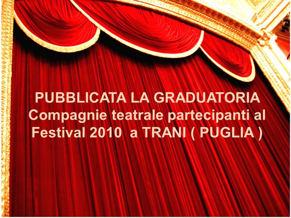 PUBBLICATA LA GRADUATORIA Compagnie teatrale partecipanti al Festival 2010 a TRANI ( PUGLIA )
