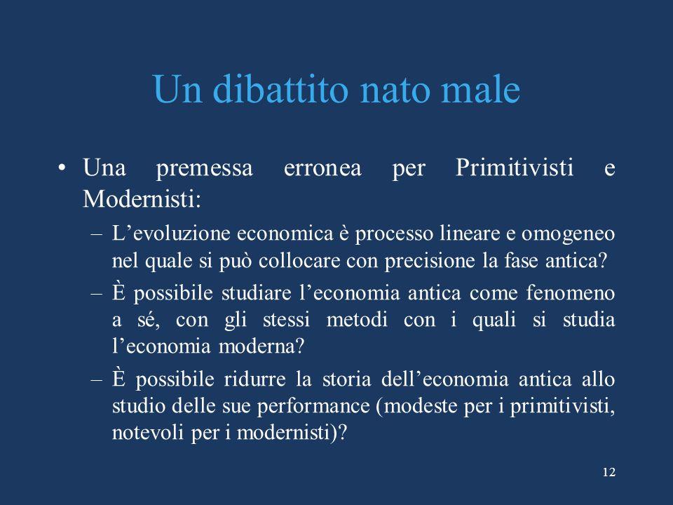 12 Un dibattito nato male Una premessa erronea per Primitivisti e Modernisti: –Levoluzione economica è processo lineare e omogeneo nel quale si può collocare con precisione la fase antica.