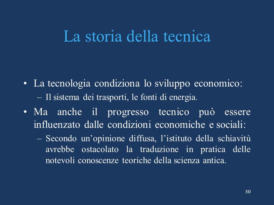 30 La storia della tecnica La tecnologia condiziona lo sviluppo economico: –Il sistema dei trasporti, le fonti di energia.