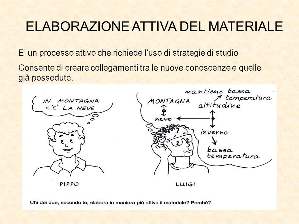 E un processo attivo che richiede luso di strategie di studio Consente di creare collegamenti tra le nuove conoscenze e quelle già possedute. Inserire