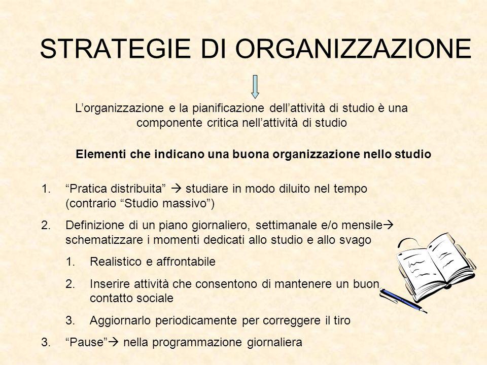 STRATEGIE DI ORGANIZZAZIONE Lorganizzazione e la pianificazione dellattività di studio è una componente critica nellattività di studio Elementi che in
