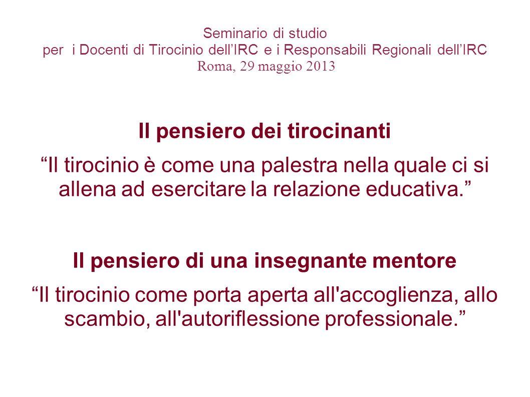 Seminario di studio per i Docenti di Tirocinio dellIRC e i Responsabili Regionali dellIRC Roma, 29 maggio 2013 Il pensiero dei tirocinanti Il tirocini