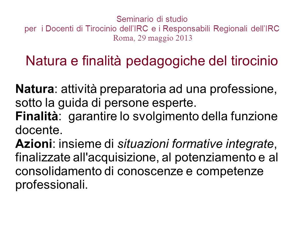 Seminario di studio per i Docenti di Tirocinio dellIRC e i Responsabili Regionali dellIRC Roma, 29 maggio 2013 Natura e finalità pedagogiche del tiroc