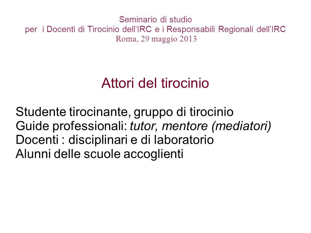 Seminario di studio per i Docenti di Tirocinio dellIRC e i Responsabili Regionali dellIRC Roma, 29 maggio 2013 Attori del tirocinio Studente tirocinan
