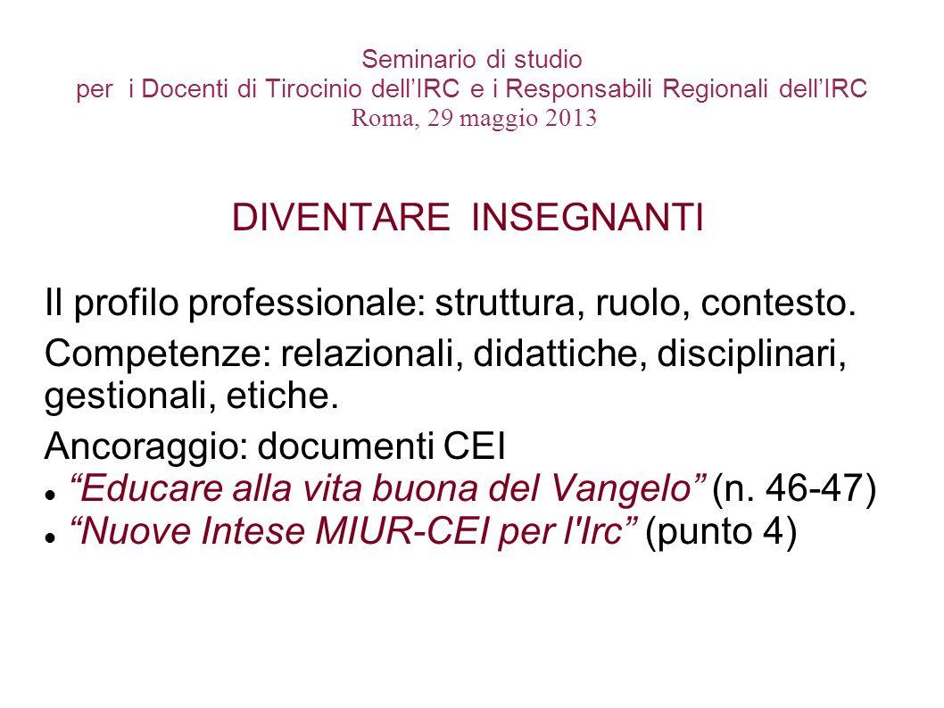 Seminario di studio per i Docenti di Tirocinio dellIRC e i Responsabili Regionali dellIRC Roma, 29 maggio 2013 DIVENTARE INSEGNANTI Il profilo profess