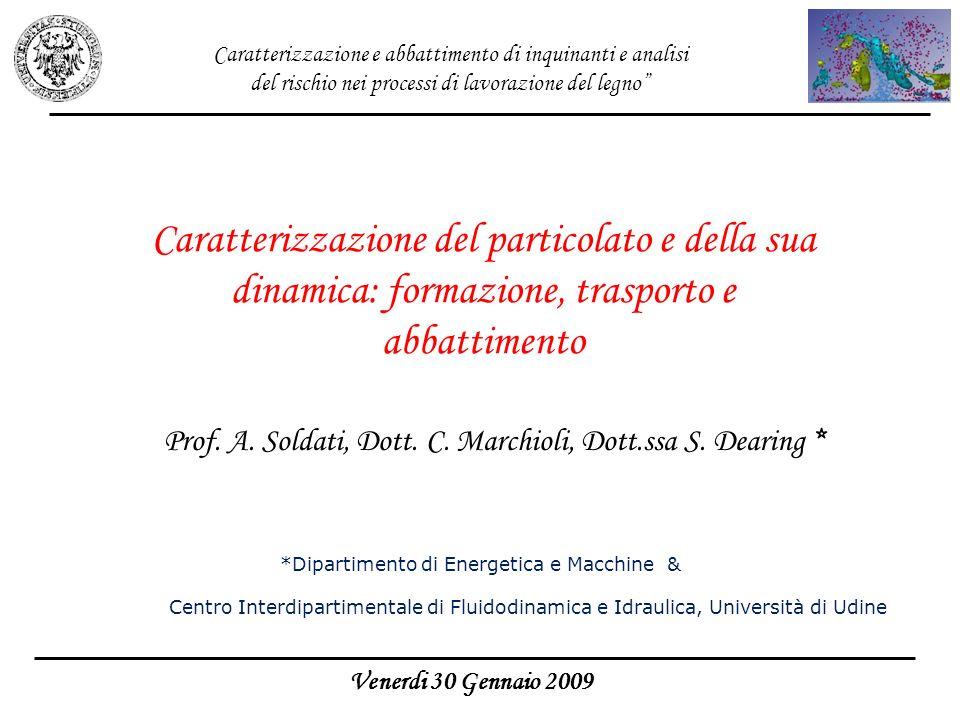 Prof. A. Soldati, Dott. C. Marchioli, Dott.ssa S. Dearing * Venerdi 30 Gennaio 2009 Caratterizzazione del particolato e della sua dinamica: formazione