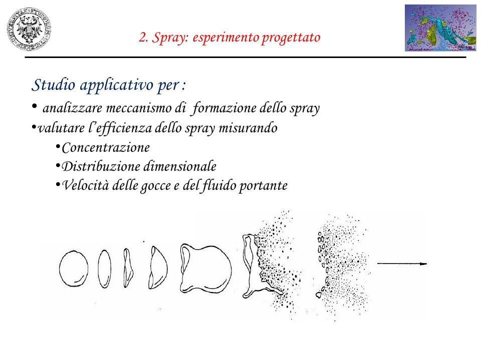2. Spray: esperimento progettato Studio applicativo per : analizzare meccanismo di formazione dello spray valutare lefficienza dello spray misurando C