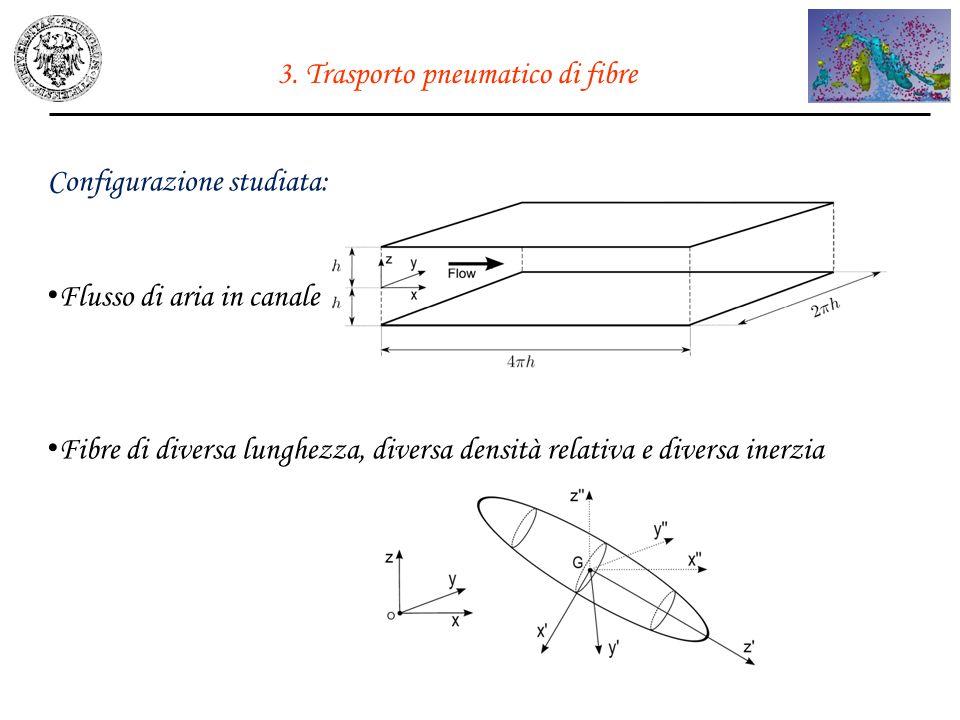 3. Trasporto pneumatico di fibre Configurazione studiata: Flusso di aria in canale Fibre di diversa lunghezza, diversa densità relativa e diversa iner