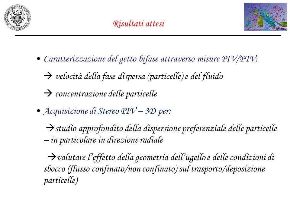 Caratterizzazione del getto bifase attraverso misure PIV/PTV: velocità della fase dispersa (particelle) e del fluido concentrazione delle particelle A