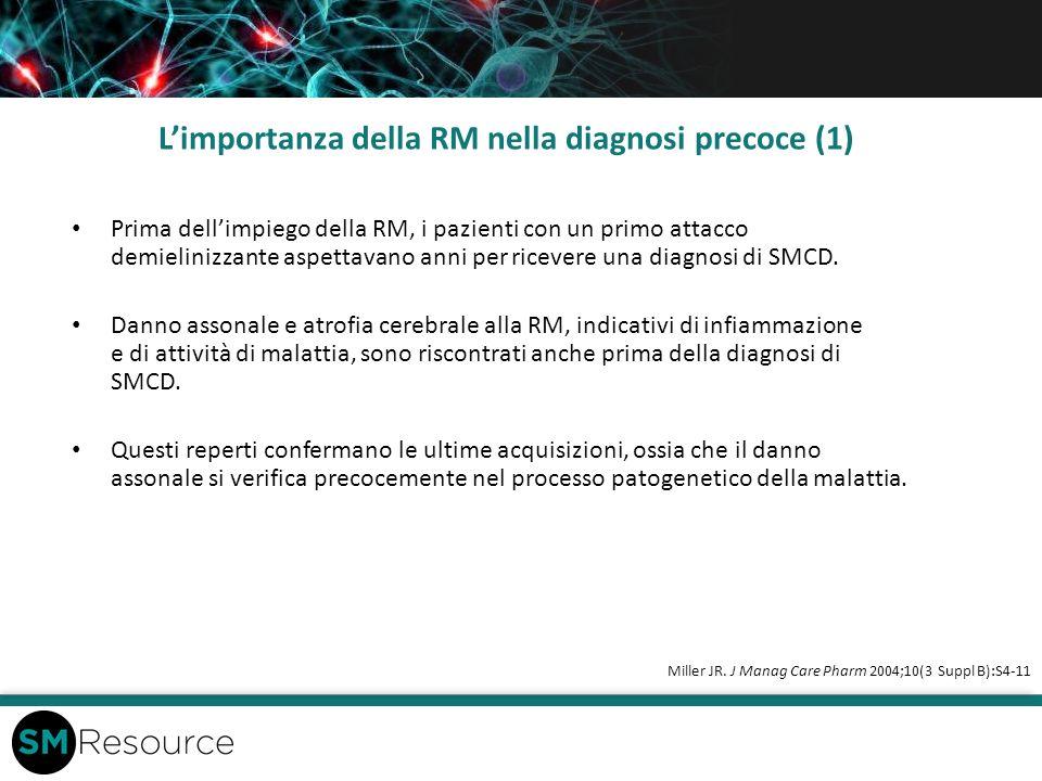 Limportanza della RM nella diagnosi precoce (1) Prima dellimpiego della RM, i pazienti con un primo attacco demielinizzante aspettavano anni per ricev