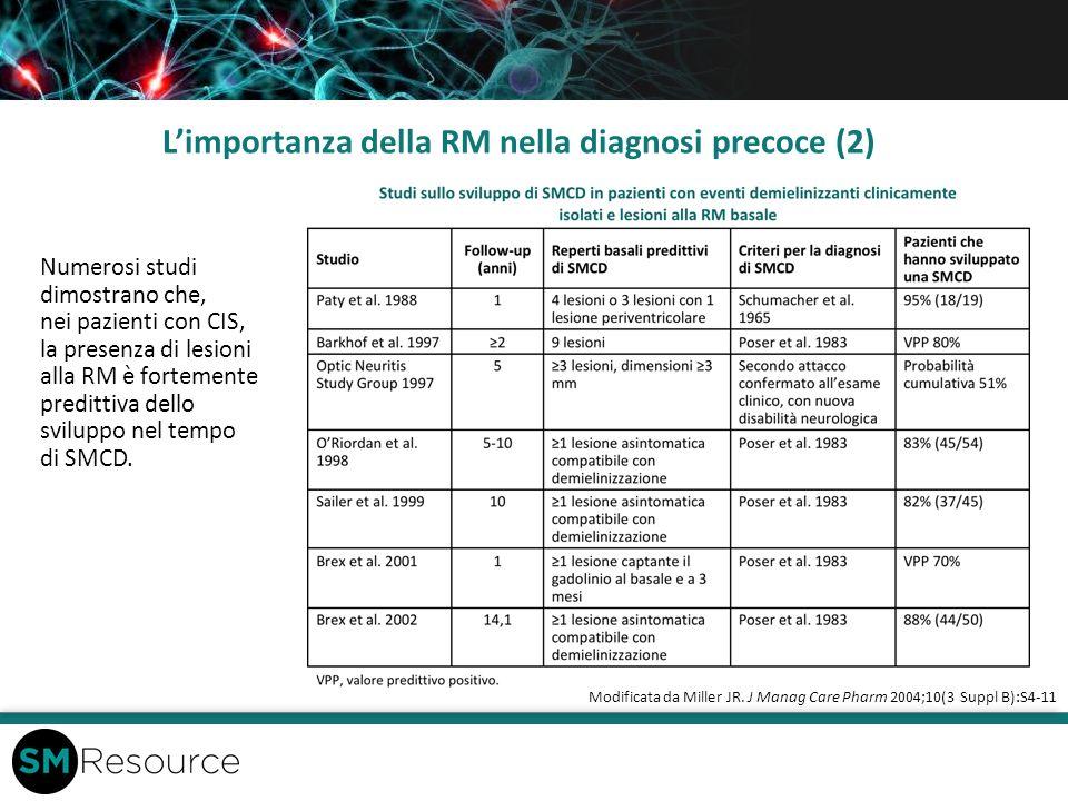 Limportanza della RM nella diagnosi precoce (2) Numerosi studi dimostrano che, nei pazienti con CIS, la presenza di lesioni alla RM è fortemente predi