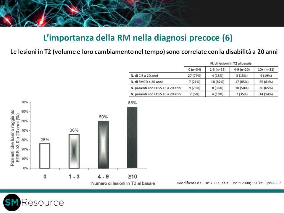 Limportanza della RM nella diagnosi precoce (6) Modificata da Fisniku LK, et al. Brain 2008;131(Pt 3):808-17 Le lesioni in T2 (volume e loro cambiamen