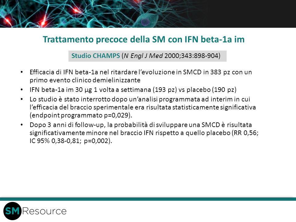 Trattamento precoce della SM con IFN beta-1a im Efficacia di IFN beta-1a nel ritardare levoluzione in SMCD in 383 pz con un primo evento clinico demie