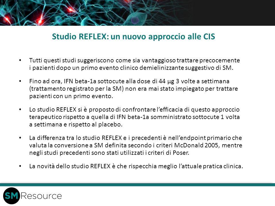 Studio REFLEX: un nuovo approccio alle CIS Tutti questi studi suggeriscono come sia vantaggioso trattare precocemente i pazienti dopo un primo evento