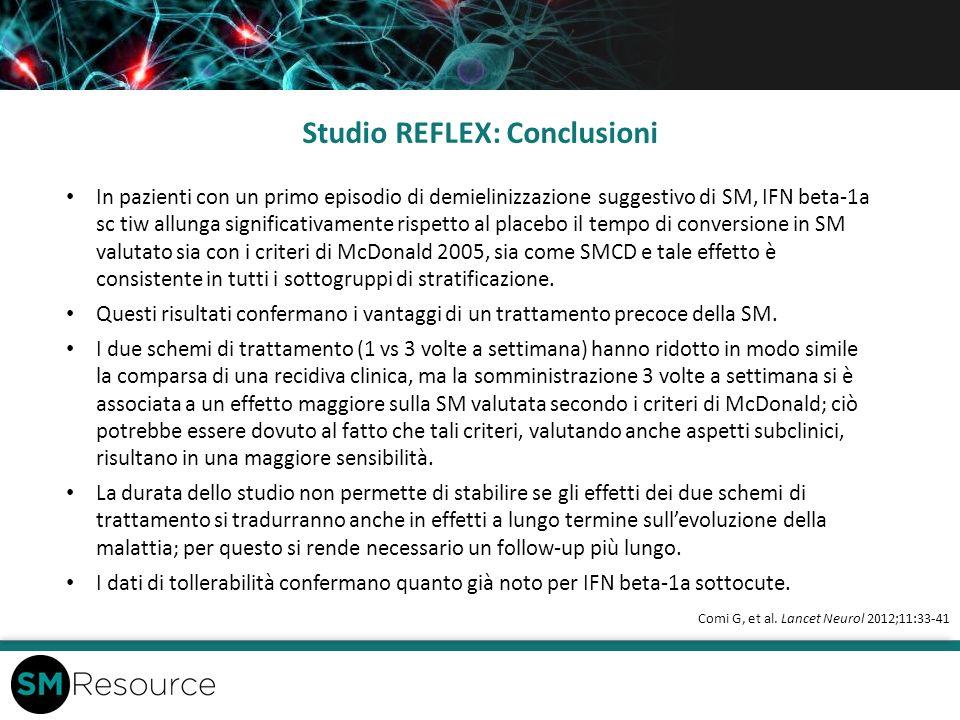 Studio REFLEX: Conclusioni Comi G, et al. Lancet Neurol 2012;11:33-41 In pazienti con un primo episodio di demielinizzazione suggestivo di SM, IFN bet