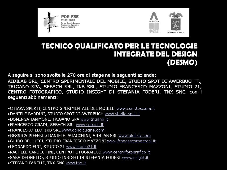 TECNICO QUALIFICATO PER LE TECNOLOGIE INTEGRATE DEL DESIGN (DESMO) A seguire si sono svolte le 270 ore di stage nelle seguenti aziende: AIDILAB SRL, CENTRO SPERIMENTALE DEL MOBILE, STUDIO SPOT DI AWERBUCH T., TRIGANO SPA, SEBACH SRL, IKB SRL, STUDIO FRANCESCO MAZZONI, STUDIO 21, CENTRO FOTOGRAFICO, STUDIO INSIGHT DI STEFANIA FODERI, TNX SNC, con i seguenti abbinamenti: CHIARA SPERTI, CENTRO SPERIMENTALE DEL MOBILE www.csm.toscana.itwww.csm.toscana.it DANIELE BARDINI, STUDIO SPOT DI AWERBUCH www.studio-spot.itwww.studio-spot.it DOMINGA TAMMONE, TRIGANO SPA www.trigano.itwww.trigano.it FRANCESCO GRADI, SEBACH SRL www.sebach.itwww.sebach.it FRANCESCO LEO, IKB SRL www.gandicucine.comwww.gandicucine.com GESSICA PIFFERI e DANIELE PATACCHINI, AIDILAB SRL www.aidilab.comwww.aidilab.com GUIDO BELLUCCI, STUDIO FRANCESCO MAZZONI www.francescomazzoni.itwww.francescomazzoni.it LEONARDO FINI, STUDIO 21 www.studio21.itwww.studio21.it RACHELE CAPOCCHINI, CENTRO FOTOGRAFICO www.centrofotografico.itwww.centrofotografico.it SARA DEONETTO, STUDIO INSIGHT DI STEFANIA FODERI www.insight.itwww.insight.it STEFANO FANELLI, TNX SNC www.tnx.itwww.tnx.it