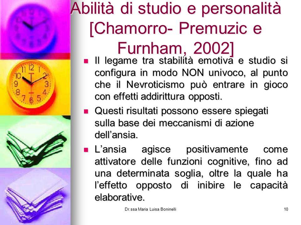 Abilità di studio e personalità [Chamorro- Premuzic e Furnham, 2002] Il legame tra stabilità emotiva e studio si configura in modo NON univoco, al pun