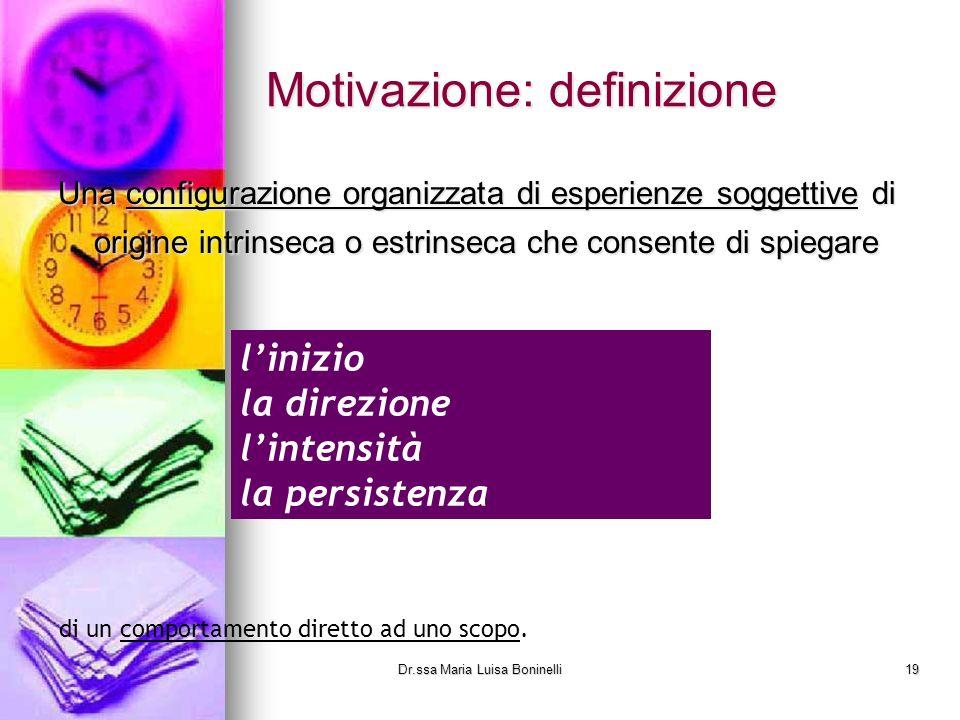 Motivazione: definizione Una configurazione organizzata di esperienze soggettive di origine intrinseca o estrinseca che consente di spiegare linizio l