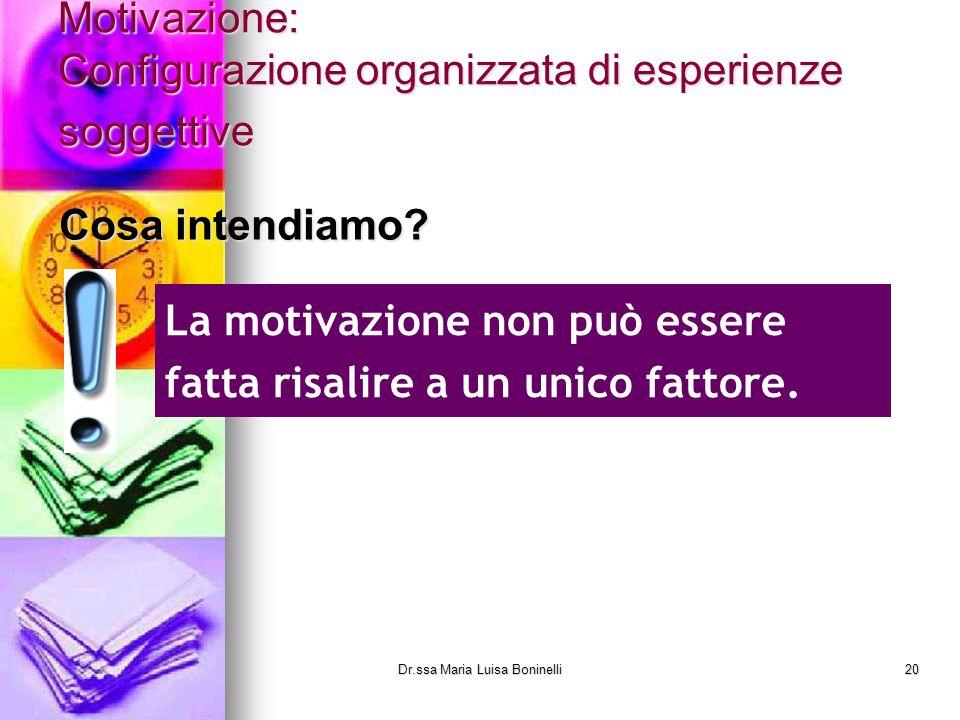 Motivazione: Configurazione organizzata di esperienze soggettive Cosa intendiamo? La motivazione non può essere fatta risalire a un unico fattore. Dr.