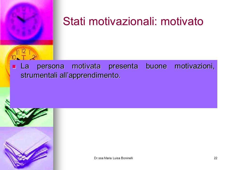 Stati motivazionali: motivato La persona motivata presenta buone motivazioni, strumentali allapprendimento. Dr.ssa Maria Luisa Boninelli22