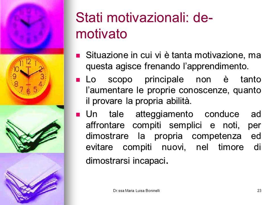 Stati motivazionali: de- motivato Situazione in cui vi è tanta motivazione, ma questa agisce frenando lapprendimento. Situazione in cui vi è tanta mot
