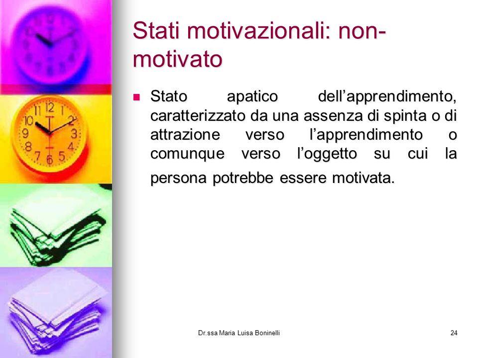 Stati motivazionali: non- motivato Stato apatico dellapprendimento, caratterizzato da una assenza di spinta o di attrazione verso lapprendimento o com