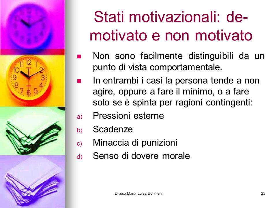 Stati motivazionali: de- motivato e non motivato Non sono facilmente distinguibili da un punto di vista comportamentale. Non sono facilmente distingui