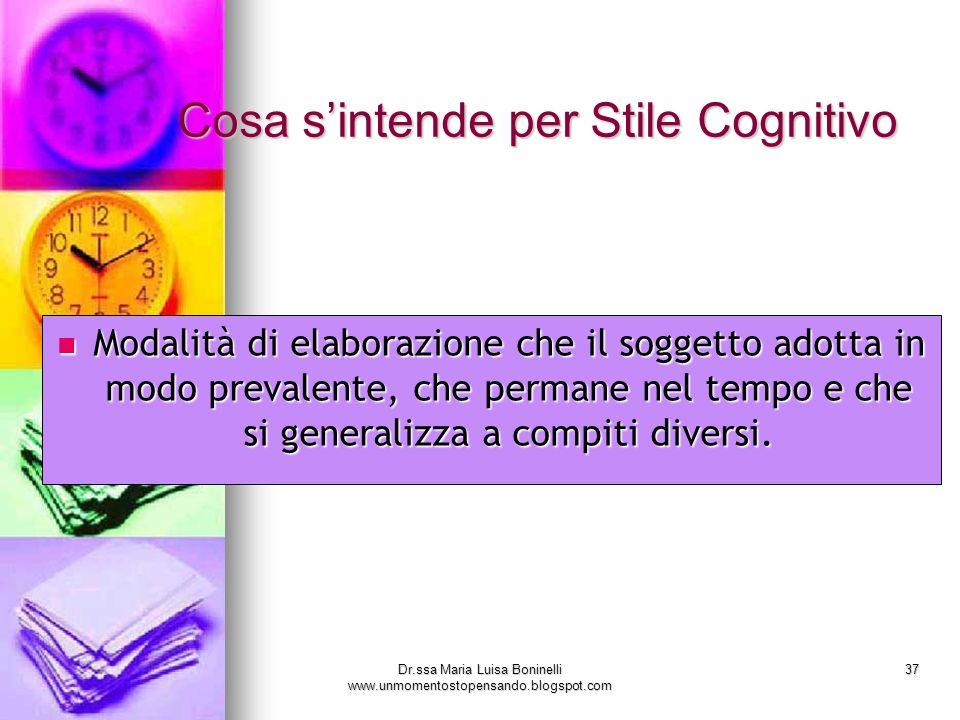 Dr.ssa Maria Luisa Boninelli www.unmomentostopensando.blogspot.com 37 Modalità di elaborazione che il soggetto adotta in modo prevalente, che permane