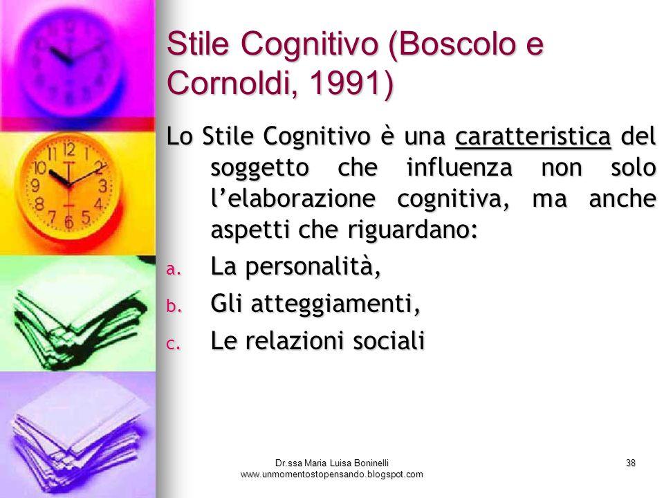 Dr.ssa Maria Luisa Boninelli www.unmomentostopensando.blogspot.com 38 Stile Cognitivo (Boscolo e Cornoldi, 1991) Lo Stile Cognitivo è una caratteristi