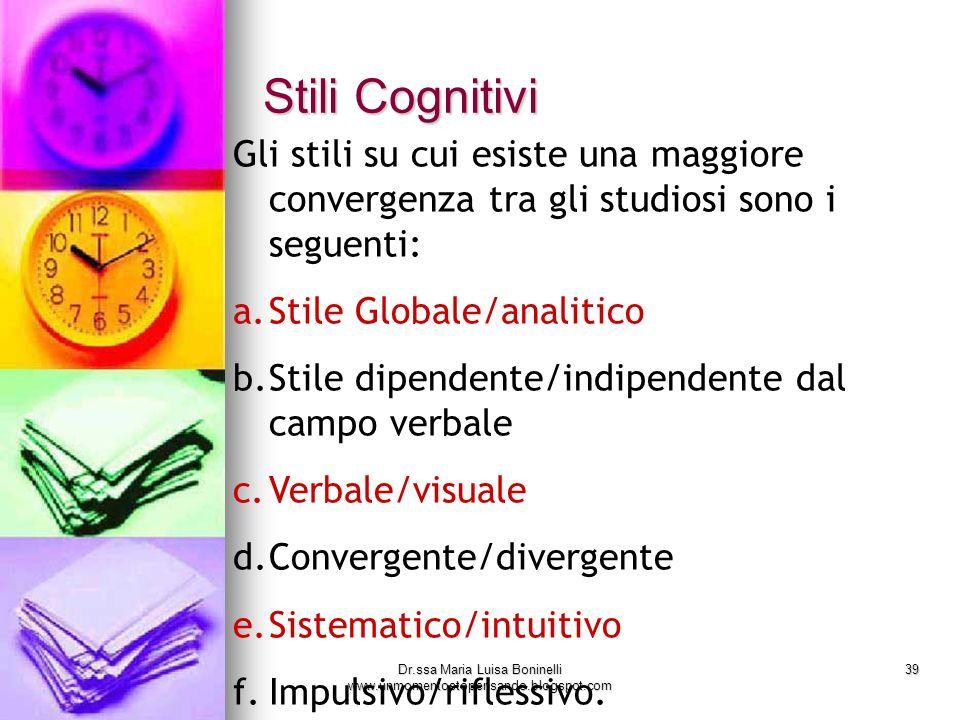 Dr.ssa Maria Luisa Boninelli www.unmomentostopensando.blogspot.com 39 Stili Cognitivi Gli stili su cui esiste una maggiore convergenza tra gli studios