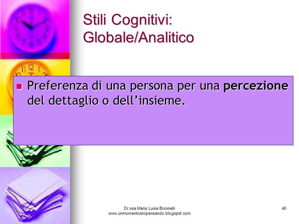 Dr.ssa Maria Luisa Boninelli www.unmomentostopensando.blogspot.com 40 Stili Cognitivi: Globale/Analitico Preferenza di una persona per una percezione