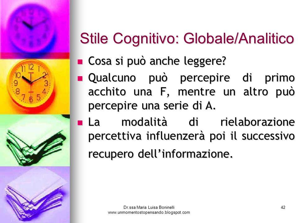 Dr.ssa Maria Luisa Boninelli www.unmomentostopensando.blogspot.com 42 Stile Cognitivo: Globale/Analitico Stile Cognitivo: Globale/Analitico Cosa si pu