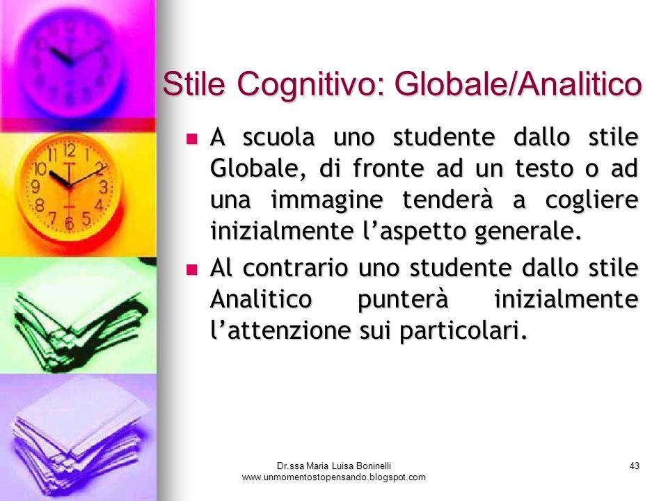 Dr.ssa Maria Luisa Boninelli www.unmomentostopensando.blogspot.com 43 Stile Cognitivo: Globale/Analitico A scuola uno studente dallo stile Globale, di
