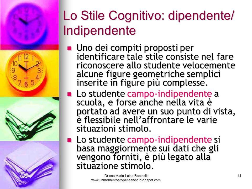 Dr.ssa Maria Luisa Boninelli www.unmomentostopensando.blogspot.com 44 Uno dei compiti proposti per identificare tale stile consiste nel fare riconosce