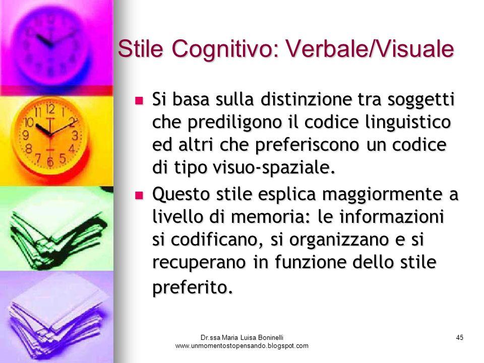 Dr.ssa Maria Luisa Boninelli www.unmomentostopensando.blogspot.com 45 Stile Cognitivo: Verbale/Visuale Si basa sulla distinzione tra soggetti che pred