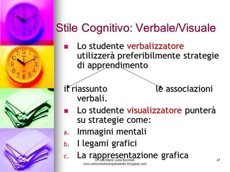 Dr.ssa Maria Luisa Boninelli www.unmomentostopensando.blogspot.com 47 Lo studente verbalizzatore utilizzerà preferibilmente strategie di apprendimento