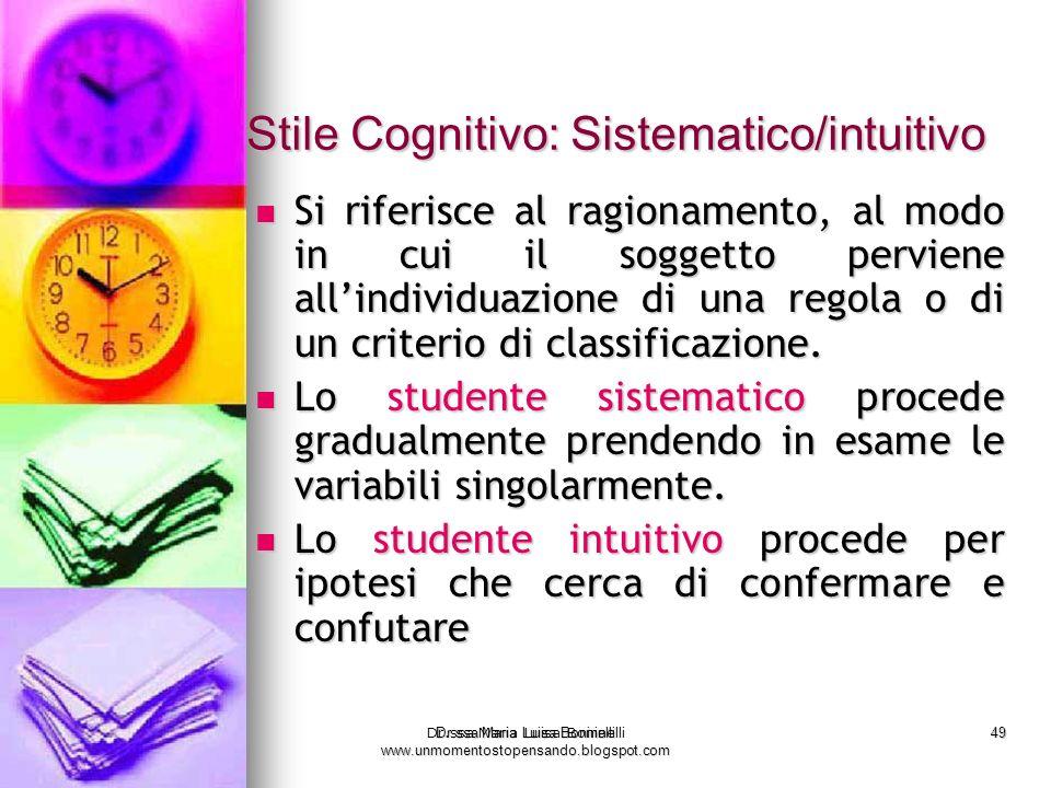 Dr.ssa Maria Luisa Boninelli www.unmomentostopensando.blogspot.com 49 Dr.ssa Maria Luisa Boninelli Stile Cognitivo: Sistematico/intuitivo Si riferisce
