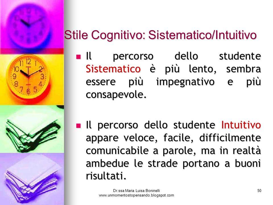 Dr.ssa Maria Luisa Boninelli www.unmomentostopensando.blogspot.com 50 Stile Cognitivo: Sistematico/Intuitivo Il percorso dello studente Sistematico è