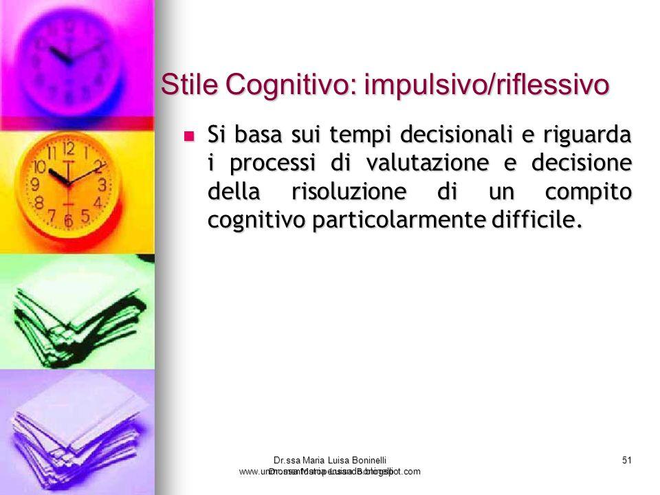 Dr.ssa Maria Luisa Boninelli www.unmomentostopensando.blogspot.com 51 Dr.ssa Maria Luisa Boninelli Stile Cognitivo: impulsivo/riflessivo Stile Cogniti