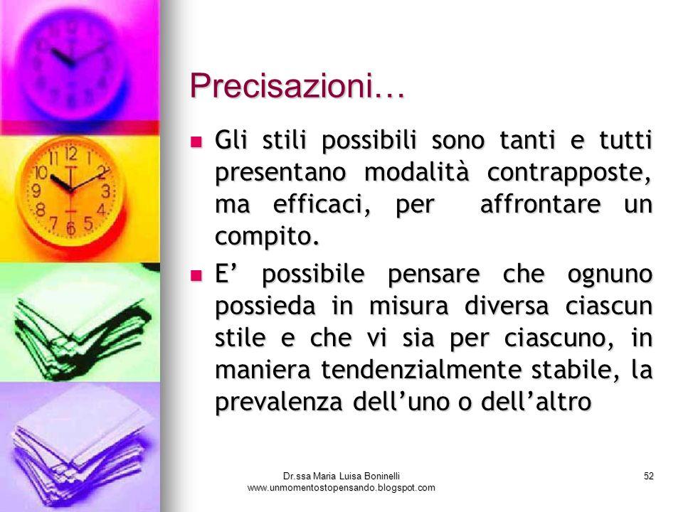 Dr.ssa Maria Luisa Boninelli www.unmomentostopensando.blogspot.com 52 Precisazioni… Gli stili possibili sono tanti e tutti presentano modalità contrap