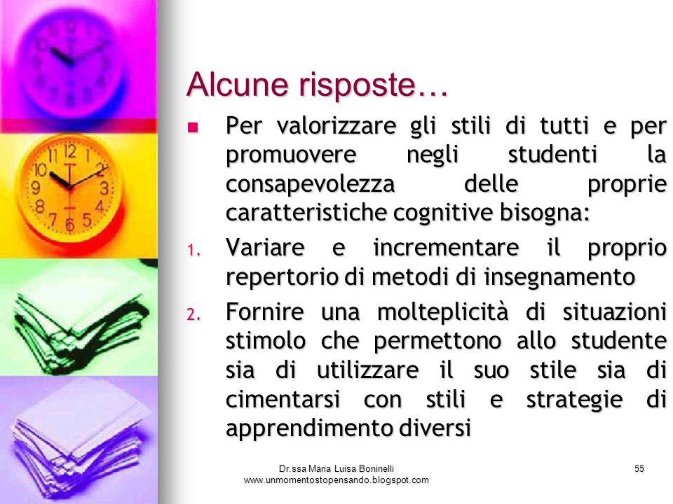 Dr.ssa Maria Luisa Boninelli www.unmomentostopensando.blogspot.com 55 Alcune risposte… Per valorizzare gli stili di tutti e per promuovere negli stude
