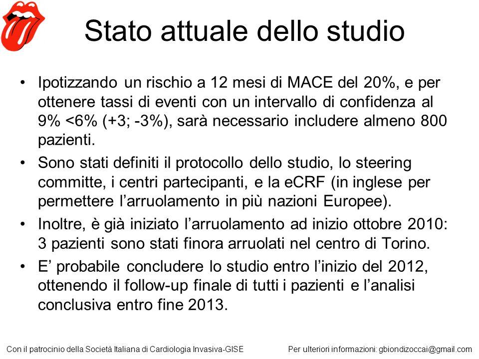 Stato attuale dello studio Ipotizzando un rischio a 12 mesi di MACE del 20%, e per ottenere tassi di eventi con un intervallo di confidenza al 9% <6%