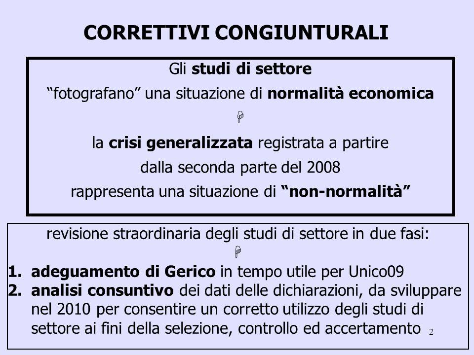 2 CORRETTIVI CONGIUNTURALI Gli studi di settore fotografano una situazione di normalità economica la crisi generalizzata registrata a partire dalla se