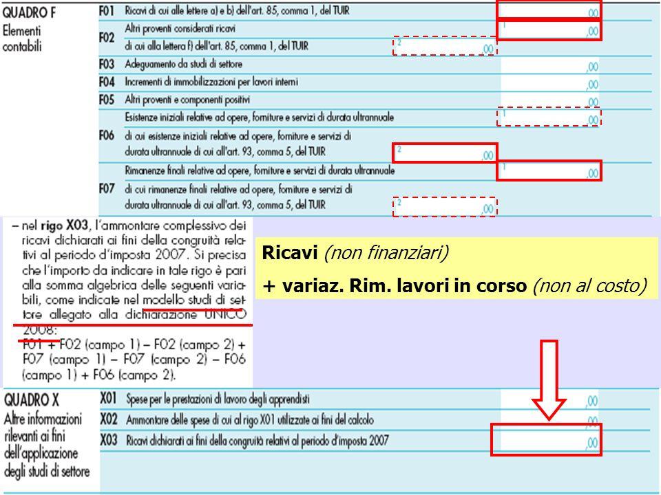 21 Ricavi (non finanziari) + variaz. Rim. lavori in corso (non al costo)