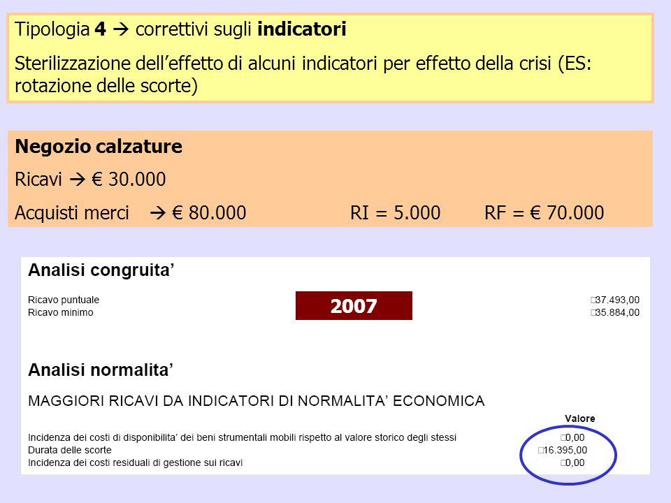 29 Negozio calzature Ricavi 30.000 Acquisti merci 80.000RI = 5.000RF = 70.000 Tipologia 4 correttivi sugli indicatori Sterilizzazione delleffetto di a