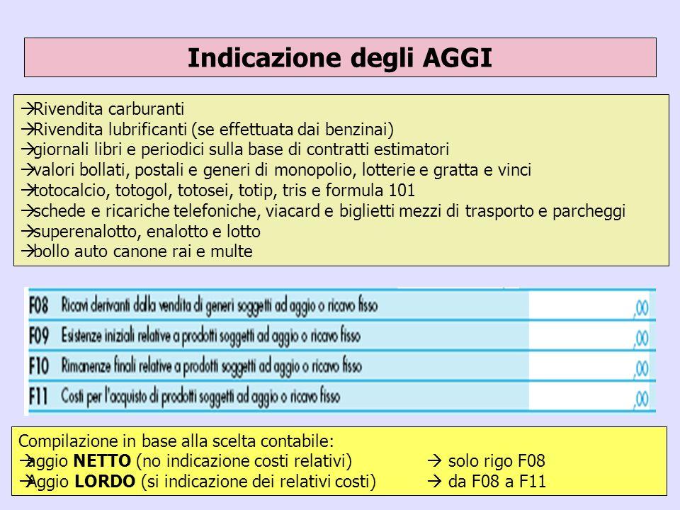 39 Indicazione degli AGGI Compilazione in base alla scelta contabile: aggio NETTO (no indicazione costi relativi) solo rigo F08 Aggio LORDO (si indica