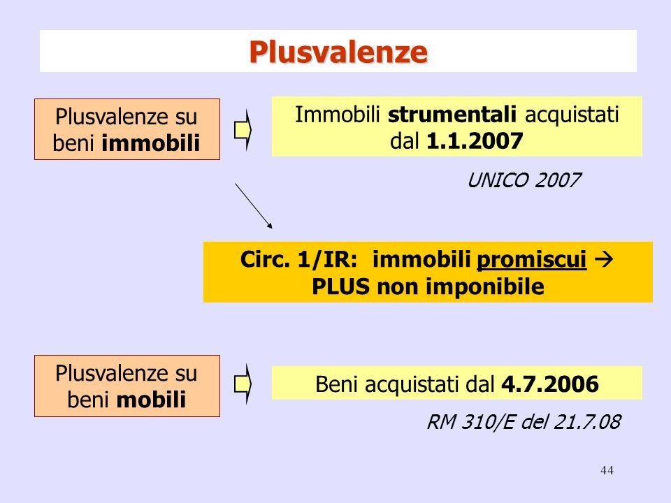44 Plusvalenze su beni immobili Immobili strumentali acquistati dal 1.1.2007 UNICO 2007 Plusvalenze su beni mobili Beni acquistati dal 4.7.2006 RM 310